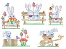 De pictogrammen van Pasen met konijntjes Royalty-vrije Stock Afbeeldingen
