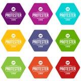De pictogrammen van de protesteerdergrammofoon plaatsen vector 9 Royalty-vrije Stock Afbeeldingen