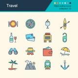 De pictogrammen van de reis Gevulde inzameling 12 van het overzichtsontwerp Voor presentat Royalty-vrije Stock Afbeeldingen