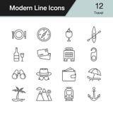 De pictogrammen van de reis Moderne reeks 12 van het lijnontwerp Vector illustratie Royalty-vrije Stock Foto