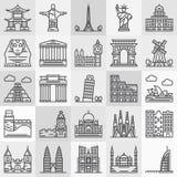 De Pictogrammen van reisoriëntatiepunten Stock Foto