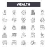 De pictogrammen van de rijkdomlijn voor Web en mobiel ontwerp De tekens van de Editableslag Het conceptenillustraties van het rij stock illustratie