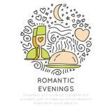 De pictogrammen van de romantische en huwelijksreis trekken ter beschikking stijl, op witte achtergrond Liefde reizende pictogram royalty-vrije illustratie