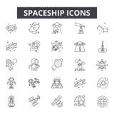 De pictogrammen van de ruimteschiplijn, tekens, vectorreeks, lineair concept, overzichtsillustratie stock illustratie