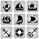 De pictogrammen van schepen Stock Afbeeldingen