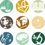De pictogrammen van schoolonderwerpen Stock Foto