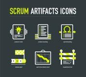 De pictogrammen van scrumartefacten Stock Afbeeldingen