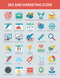 De Pictogrammen van SEO en Marketing Royalty-vrije Stock Foto's