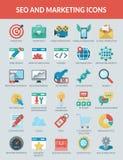 De Pictogrammen van SEO en Marketing Royalty-vrije Illustratie