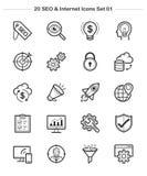 De pictogrammen van SEO & Internet-plaatsen 1, de pictogrammen van de Lijndikte Royalty-vrije Stock Foto