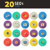 De pictogrammen van SEO 1 op gekleurd om knopen Royalty-vrije Stock Afbeelding