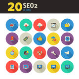 De pictogrammen van SEO 2 op gekleurd om knopen Stock Foto