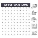 De pictogrammen van de softwarelijn, tekens, vectorreeks, het concept van de overzichtsillustratie royalty-vrije illustratie