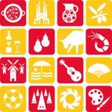 De pictogrammen van Spanje Stock Afbeeldingen