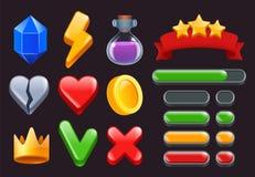 De pictogrammen van de spel ui uitrusting Speelt gekleurde lintenmenu's mee en de statusbars voor online Web of smartphonespelen  royalty-vrije illustratie