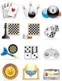 De pictogrammen van spelen Stock Foto