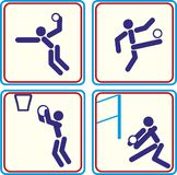 De pictogrammen van sportballen voetbal, basketbal, volleyball Vector illustratie Royalty-vrije Stock Afbeelding