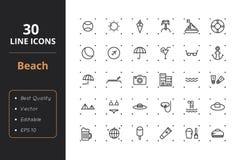30 de Pictogrammen van de strandlijn royalty-vrije illustratie