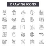 De pictogrammen van de tekeningslijn, tekens, vectorreeks, het concept van de overzichtsillustratie stock illustratie
