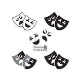 De pictogrammen van theatermaskers Royalty-vrije Stock Afbeeldingen