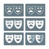 De pictogrammen van theatermaskers Royalty-vrije Stock Fotografie