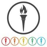 De pictogrammen van de toortsvlam Brand vlammende symbolen vector illustratie