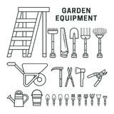 De pictogrammen van tuinequpment Stock Foto