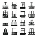 De pictogrammen van venstervormen geplaatst balkon, eenvoudige stijl Stock Foto's