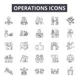 De pictogrammen van de verrichtingenlijn, tekens, vectorreeks, het concept van de overzichtsillustratie stock illustratie