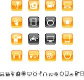 De pictogrammen van verschillende media. Stock Afbeeldingen