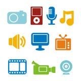 De pictogrammen van verschillende media Stock Fotografie