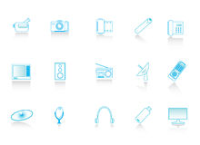 De pictogrammen van verschillende media Stock Foto's