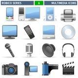 De Pictogrammen van verschillende media - Reeks Robico Royalty-vrije Stock Foto's