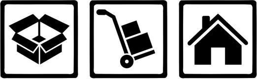 De pictogrammen van de verwijderingsmens - doos, handvrachtwagen, huis vector illustratie