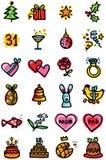 De pictogrammen van vieringen Stock Fotografie