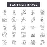 De pictogrammen van de voetballijn voor Web en mobiel ontwerp De tekens van de Editableslag Het conceptenillustraties van het voe stock illustratie