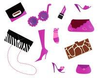 De pictogrammen van vrouwen en - (roze) zakken en schoenen Stock Foto's