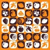 De pictogrammen van vruchten Stock Afbeelding