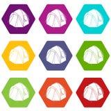 De pictogrammen van de wandelingstent plaatsen vector 9 Royalty-vrije Stock Afbeelding