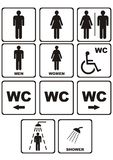 De pictogrammen van WC op wit Stock Illustratie
