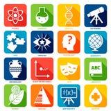 De pictogrammen van wetenschapsgebieden vector illustratie