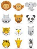 De pictogrammen van wilde dieren Stock Fotografie