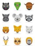 De pictogrammen van wilde dieren Stock Afbeelding