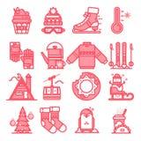 De pictogrammen van de de winterlijn teken en symbolen in de vlakke ontwerpwinter met elementen voor mobiel concepten en Web apps Stock Afbeeldingen