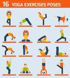 De pictogrammen van yogaoefeningen stock illustratie
