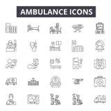 De pictogrammen van de ziekenwagenlijn voor Web en mobiel ontwerp De tekens van de Editableslag Het conceptenillustraties van het stock illustratie