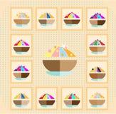 De pictogrammen van zweet op gestippelde achtergrond Royalty-vrije Stock Foto's