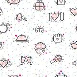 De pictogrammen vectorhart van de valentijnskaartendag in liefde en mooi rood teken op hearted viering en groetkaart met het houd royalty-vrije illustratie