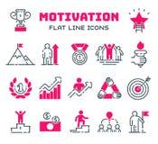 De pictogrammen vectorreeks van het motivatieoverzicht vector illustratie