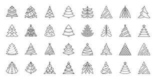 De pictogrammen vectorreeks van de kerstboom eenvoudige zwarte lijn royalty-vrije illustratie